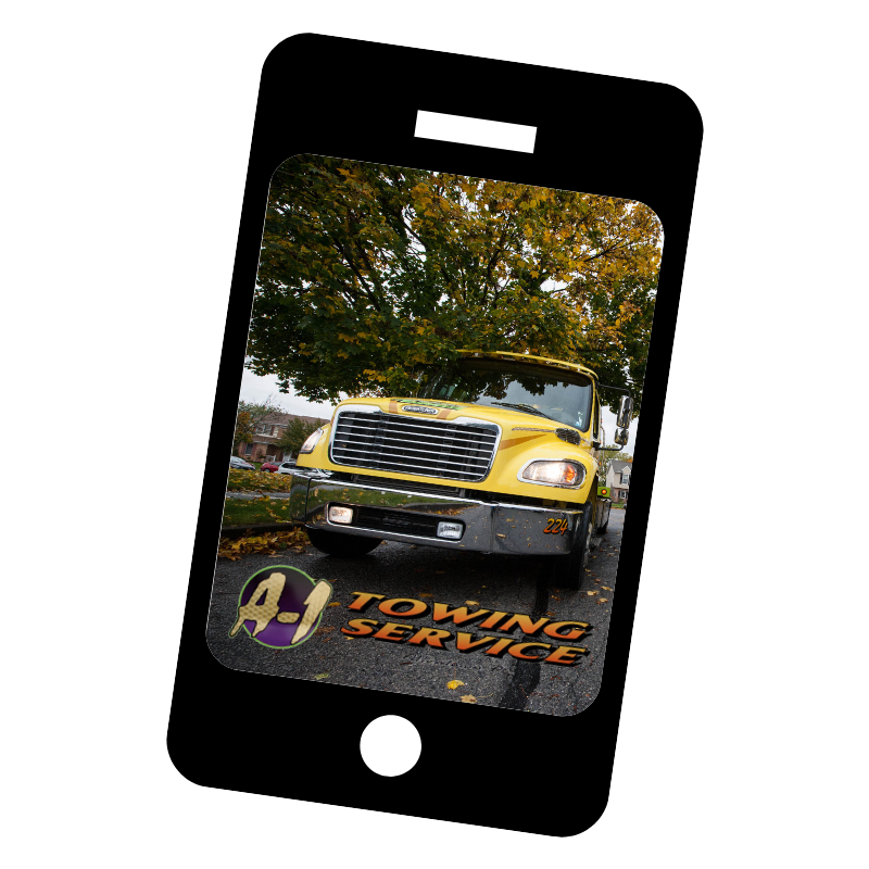 picture of cell phone with A1 towing app to download for fast towing services