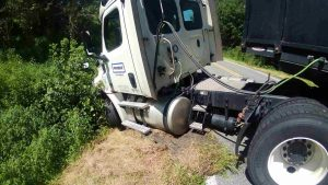 Close Up of Semi before Towing Company Recovery